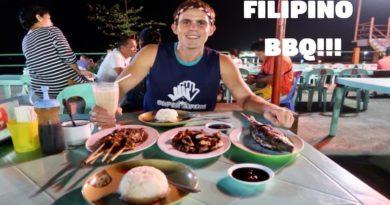Die Philippinen im Video - Filipino BBQ am Abend am Baywalk