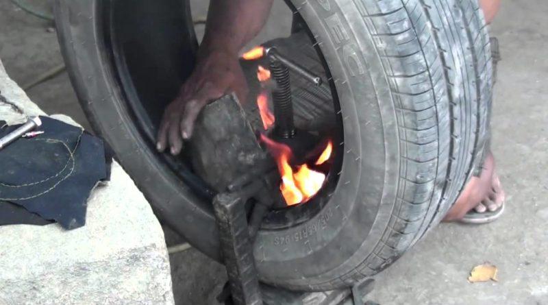 Die Philippinen im Video - Philippinische Reifenreparatur