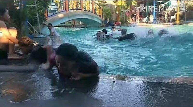 PHILIPPINEN VIDEO - Auswirkungen eines Erdbebens in einem Schwimmbecken